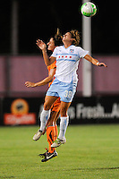 Julianne Sitch (38) of the Chicago Red Stars and Yael Averbuch (13) of Sky Blue FC go up for a header. The Chicago Red Stars defeated Sky Blue FC 2-1 during a Women's Professional Soccer (WPS) match at Yurcak Field in Piscataway, NJ, on August 01, 2010.