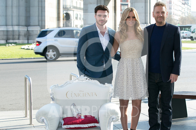 Kenneth Branagh, Richard Madden and Edurne attend the Cinderella Movie Presentation at Puerta de Alcala, Madrid,  Spain. March 16, 2015.(ALTERPHOTOS/)Carlos Dafonte)