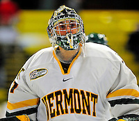 21 February 2009: University of Vermont Catamount goaltender John Vazzano, a Freshman from Trumbull, CT, warms up prior to a game against the University of Massachusetts River Hawks at Gutterson Fieldhouse in Burlington, Vermont. The River Hawks shut out the Catamounts 1-0. Mandatory Photo Credit: Ed Wolfstein Photo