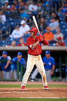 Clearwater Threshers Mickey Moniak (2) at bat during a game against the Dunedin Blue Jays on April 6, 2018 at Spectrum Field in Clearwater, Florida.  Clearwater defeated Dunedin 8-0.  (Mike Janes/Four Seam Images)