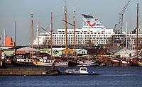 Nederland  Amsterdam -  2020.   Amsterdam-Noord. Op de achtergrond een cruiseschip van TUI. Het cruiseschip ligt in het dok.  Foto : ANP/ HH / Berlinda van Dam