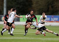 28th March 2021; Rosslyn Park, London, England; Betfred Challenge Cup, Rugby League, London Broncos versus York City Knights;  Josh Walters of London Broncos tackled by Adam Cuthbertson and Chris Clarkson of York City Knights