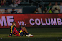 Andy Williams rests after the match. The Los Angeles Galaxy defeated Real Salt Lake, 3-2, at the Home Depot Center in Carson, CA on Sunday, June 17, 2007.