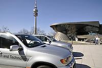 - Germany, Munich, historical museum of the BMW car factory at the company headquarters; in the background the Olympia Tower....- Germania, Monaco di Baviera, museo storico della fabbrica di automobili BMW presso la sede centrale della società; sullo sfondo la Olympia Tower