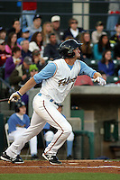 Myrtle Beach Pelicans outfielder Jared Hoying #32 at bat during a game against the Potomac Nationals at Tickerreturn.com Field at Pelicans Ballpark on April 12, 2012 in Myrtle Beach, South Carolina. Myrtle Beach defeated Potomac by the score of 1-0. (Robert Gurganus/Four Seam Images)