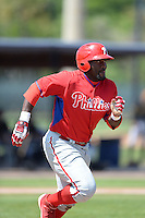 Philadelphia Phillies outfielder Larry Greene (27) during a minor league spring training game against the Pittsburgh Pirates on March 18, 2014 at the Carpenter Complex in Clearwater, Florida.  (Mike Janes/Four Seam Images)