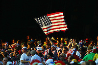 USA fans in the stand during game against Algeria. USA defeated Algeria 1-0 in stoppage time in the 2010 FIFA World Cup at Loftus Versfeld Stadium in Pretoria, Sourth Africa, on June 23th, 2010.