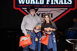 Berlyn Franks, Kruz Conway, during the Team Roping Back Number Presentation at the Junior World Finals. Photo by Andy Watson. Written permission must be obtained to use this photo in any manner.