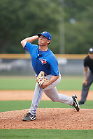 GCL Blue Jays relief pitcher Justin Watts (5) delivers a pitch during the first game of a doubleheader against the GCL Yankees East on July 24, 2017 at the Yankees Minor League Complex in Tampa, Florida.  GCL Blue Jays defeated the GCL Yankees East 6-3 in a game that originally started on July 8th.  (Mike Janes/Four Seam Images)