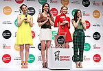 April 23, 2019, Tokyo, Japan - E-girls members (L-R) Nozomi Bando, Harumi Sato, Kaede and Nonoka Yamaguchi attend a promotional event for new tapioca drinks launched by donut store Mister Donut in Tokyo on Tuesday, April 23, 2019. Mister Donut will launch four flavored tapioca drinks on April 26.       (Photo by Yoshio Tsunoda/AFLO)