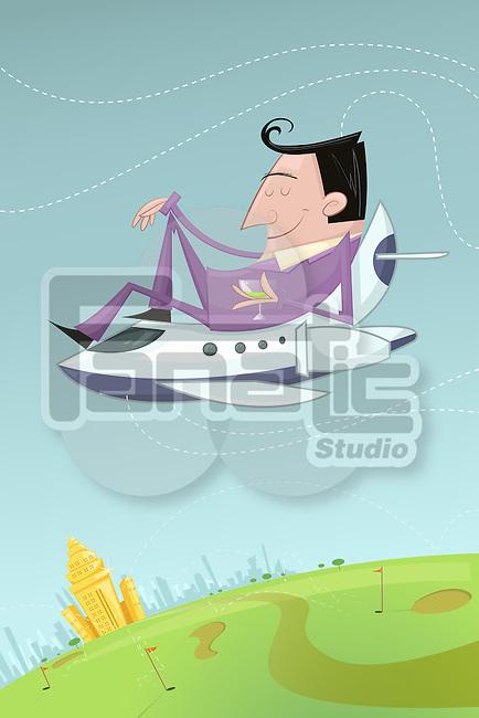 Illustrative image of content businessman sitting on top of airplane enjoying holidays