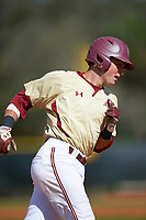 Boston College Eagles third baseman Joe Cronin (4) runs the bases after hitting a home run during a game against the Central Michigan Chippewas on March 8, 2016 at North Charlotte Regional Park in Port Charlotte, Florida.  Boston College defeated Central Michigan 9-3.  (Mike Janes/Four Seam Images)
