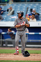 Lehigh Valley IronPigs left fielder Andrew Pullin (15) at bat during a game against the Syracuse Chiefs on May 20, 2018 at NBT Bank Stadium in Syracuse, New York.  Lehigh Valley defeated Syracuse 5-2.  (Mike Janes/Four Seam Images)