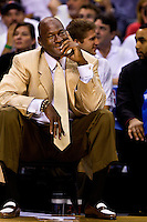 Charlotte Bobcats owner Michael Jordan watches as his professional basketball team plays the Orlando Magic during game four of the 2010 NBA playoffs. The Charlotte Bobcats, which play in Time Warner Cable Arena in downtown Charlotte, are part of the Southeastern Division of the National Basketball Association's Eastern Conference.