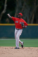 Boston Red Sox Xavier LeGrant (46) throws to first base during a Minor League Spring Training game against the Baltimore Orioles on March 20, 2019 at the Buck O'Neil Baseball Complex in Sarasota, Florida.  (Mike Janes/Four Seam Images)