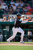 Detroit Tigers left fielder Victor Reyes (22) flies out during a Grapefruit League Spring Training game against the Atlanta Braves on March 2, 2019 at Publix Field at Joker Marchant Stadium in Lakeland, Florida.  Tigers defeated the Braves 7-4.  (Mike Janes/Four Seam Images)