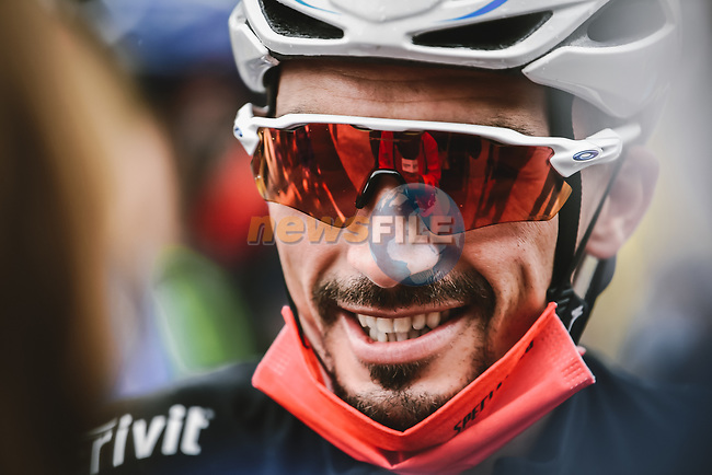 World Champion Julian Alaphilippe Deceuninck-Quick Step lines up for the start of Stage 9 of the 2021 Tour de France, running 150.8km from Cluses to Tignes, France. 4th July 2021.  <br /> Picture: A.S.O./Pauline Ballet | Cyclefile<br /> <br /> All photos usage must carry mandatory copyright credit (© Cyclefile | A.S.O./Pauline Ballet)