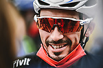 World Champion Julian Alaphilippe Deceuninck-Quick Step lines up for the start of Stage 9 of the 2021 Tour de France, running 150.8km from Cluses to Tignes, France. 4th July 2021.  <br /> Picture: A.S.O./Pauline Ballet   Cyclefile<br /> <br /> All photos usage must carry mandatory copyright credit (© Cyclefile   A.S.O./Pauline Ballet)