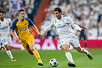 Mateo Kovacic (r) of Real Madrid is tackled by Roland Sallai of APOEL FC during the UEFA Champions League 2017-18 match between Real Madrid and APOEL FC at Estadio Santiago Bernabeu on 13 September 2017 in Madrid, Spain. Photo by Diego Gonzalez / Power Sport Images