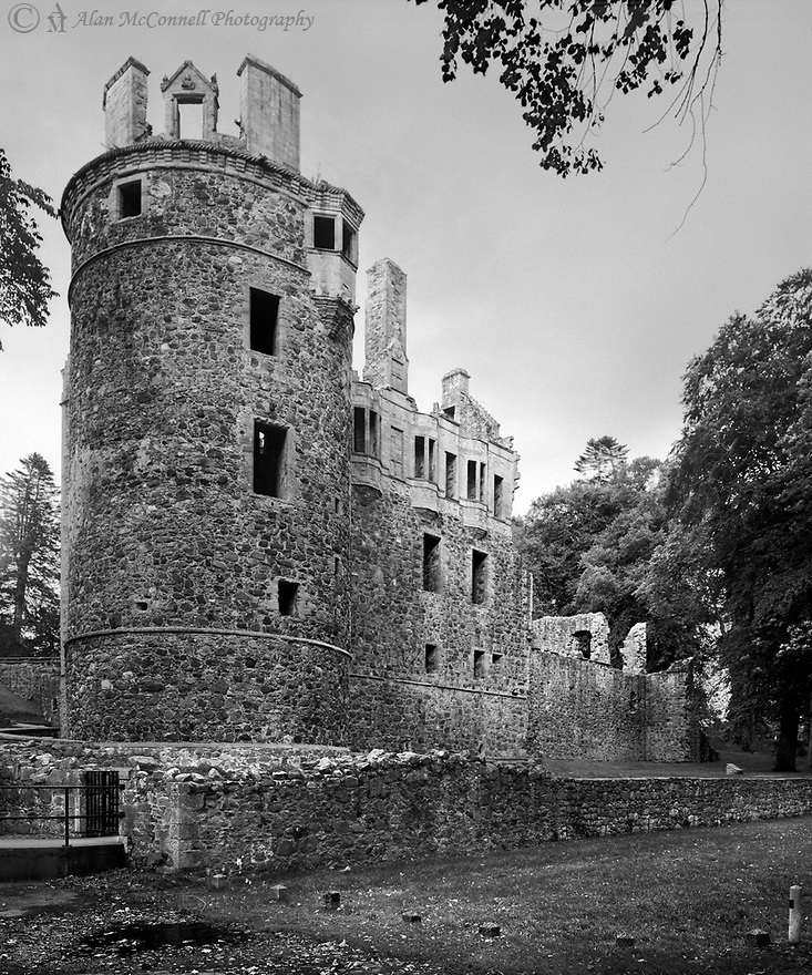 """In 1314, Robert the Bruce granted the Strathbogie estate to Sir Adam Gordon of Huntly for being a loyal supporter.  By 1445, Alexander, 2nd Lord Gordon was created Earl of Huntly and began the palace by 1450.   The 4th Earl, George Gordon, """"Cock o' the North,"""" extensively remodeled the castle in the 1550's.  His grandson, the 6th Earl, greatly enhanced the structure to celebrate his becoming 1st Marquis of Huntly in 1599."""
