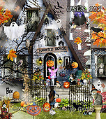 Lori, CUTE ANIMALS, LUSTIGE TIERE, ANIMALITOS DIVERTIDOS, halloween, paintings+++++Spooky House_16.5X18.5_Sunsout_72,USLS302,#ac#, EVERYDAY