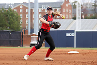 GREENSBORO, NC - MARCH 11: Katie Keller #6 of Northern Illinois University throws the ball during a game between Northern Illinois and UNC Greensboro at UNCG Softball Stadium on March 11, 2020 in Greensboro, North Carolina.