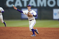 Western Carolina Catamounts second baseman Daniel Walsh (19) makes a throw to first base against the St. John's Red Storm at Childress Field on March 13, 2021 in Cullowhee, North Carolina. (Brian Westerholt/Four Seam Images)