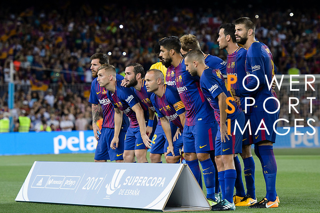 FC Barcelona squad pose for team photo during the Supercopa de Espana Final 1st Leg match between FC Barcelona and Real Madrid at Camp Nou on August 13, 2017 in Barcelona, Spain. Photo by Marcio Rodrigo Machado / Power Sport Images