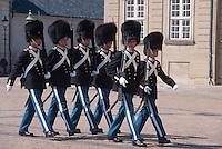 Daenemark, Kopenhagen, Wachabloesung vor Schloss Amalienborg Slot