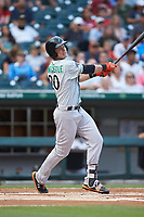 Ryan Mountcastle (20) of the Norfolk Tides follows through on his swing against the Charlotte Knights at BB&T BallPark on July 5, 2019 in Charlotte, North Carolina. The game was suspended in the bottom of the first inning due to wet grounds. (Brian Westerholt/Four Seam Images)