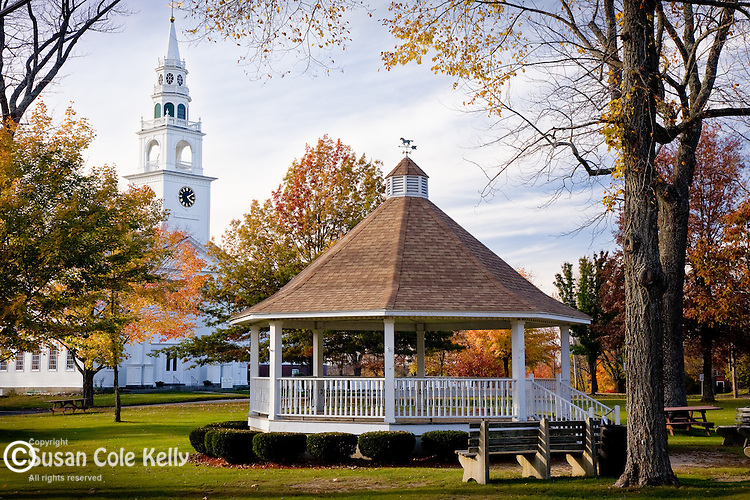 Fall foliage brightens a bandstand and a traditional Congregational on the town common of Templeton, MA