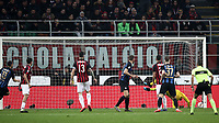 Calcio, Serie A: AC Milan - Inter Milan, Giuseppe Meazza (San Siro) stadium, Milan on 17 March 2019.  <br /> Inter's Stefan De Vrij (fourth from left) scores during the Italian Serie A football match between Milan and Inter Milan at Giuseppe Meazza stadium, on 17 March 2019. <br /> UPDATE IMAGES PRESS/Isabella Bonotto