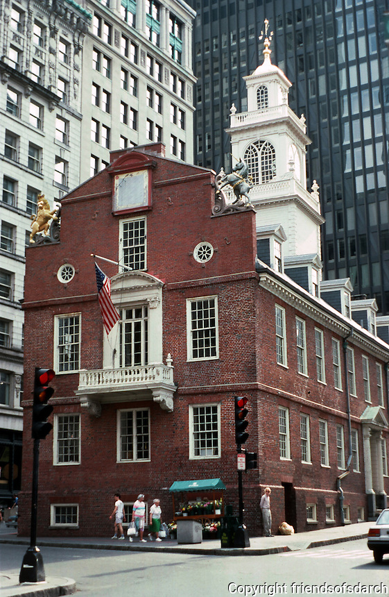 Boston:  Old State House from State St. 1712-13:  Rebuilt, 1740. Several architects restored this over the years. Georgian style.  Now houses a museum.  Listed on NRHP 1966. Photo '88.