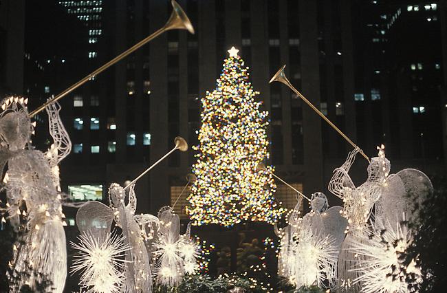 Christmas Tree at Night, Rockefeller Center, New York, N.Y.