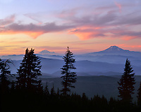 Mt Rainier and Mt Adams viewed from Mt Hood wilderness at sunset