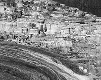 """""""Minerva Terrace at Mammoth Hot Springs"""" <br /> Yellowstone National Park, Wyoming<br /> <br /> Yellowstone National Park was established in 1872 as the world's first national park. It occupies nearly 3,500 square miles in the states of Wyoming, Idaho and Montana. Geothermal features are perhaps the most notable attribute of Yellowstone. Mammoth Hot Springs shows enormous geothermal mineral deposits only 5 miles south of the historic Roosevelt Arch at the north park entrance. The Minerva Terrace is easily accessible using the boardwalk through Mammoth Hot Springs. Huge deposits of minerals can be seen in this photograph."""