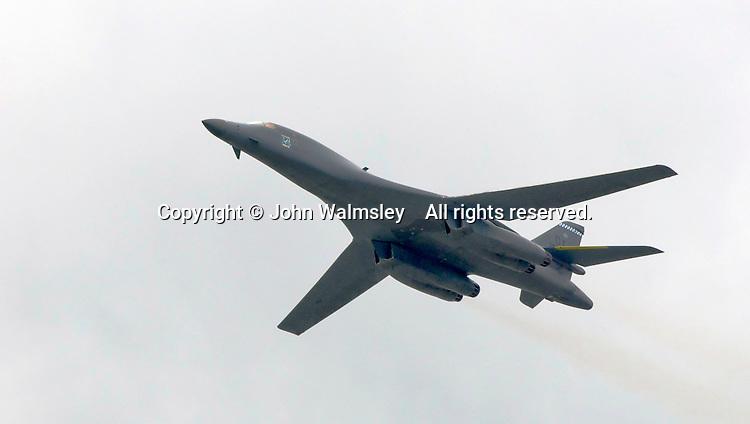 Boeing B-1B Lancer at the Farnborough International Airshow .