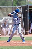 AZL Royals third baseman Emmanuel Rivera (21) at bat during an Arizona League game against the AZL Padres 1 at Peoria Sports Complex on July 4, 2018 in Peoria, Arizona. The AZL Royals defeated the AZL Padres 1 5-4. (Zachary Lucy/Four Seam Images)