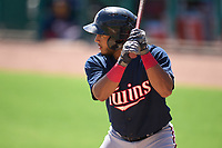 FCL Twins Emmanuel Rodriguez (4) bats during a game against the FCL Red Sox on August 7, 2021 at JetBlue Park at Fenway South in Fort Myers, Florida.  (Mike Janes/Four Seam Images)