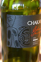 Detail of the Chakana Bodega Winery label showing the dragon design that comes from old Indian Andes art. The Restaurant Red at the Hotel Madero Sofitel in Puerto Madero, Buenos Aires Argentina, South America