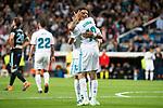 Real Madrid Achraf Hakimi and Marcelo celebrating a goal during La Liga match between Real Madrid and Celta de Vigo at Santiago Bernabeu Stadium in Madrid, Spain. May 12, 2018. (ALTERPHOTOS/Borja B.Hojas)