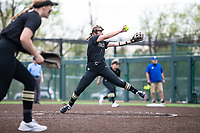 Mc Kenzie Vaughan (5) of Bentonville pitches againt Rogers at Rogers High School, Rogers, Arkansas, on Tuesday, April 6, 2021 / Special to NWA Democrat Gazette