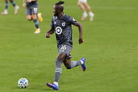ST PAUL, MN - NOVEMBER 4: Kei Kamara #16 of Minnesota United FC goes to kick the ball during a game between Chicago Fire and Minnesota United FC at Allianz Field on November 4, 2020 in St Paul, Minnesota.