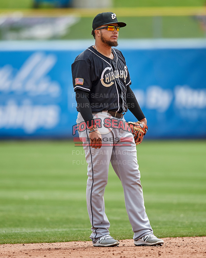 Diego Goris (8) of the El Paso Chihuahuas on defense against the Salt Lake Bees in Pacific Coast League action at Smith's Ballpark on April 30, 2017 in Salt Lake City, Utah.   El Paso defeated Salt Lake 3-0. This was Game 1 of a double-header. (Stephen Smith/Four Seam Images)