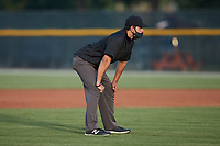 Umpire Brandon Tipton handles the calls on the bases during the Appalachian League game between the Bluefield Ridge Runners and the Burlington Sock Puppets at Burlington Athletic Park on June 8, 2021 in Burlington, North Carolina. (Brian Westerholt/Four Seam Images)