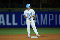 Brendan Illies (43) of the North Carolina Tar Heels smiles as he stands on second base after hitting a double against the Miami Hurricanes in the second semifinal of the 2017 ACC Baseball Championship at Louisville Slugger Field on May 27, 2017 in Louisville, Kentucky. The Tar Heels defeated the Hurricanes 12-4. (Brian Westerholt/Four Seam Images)