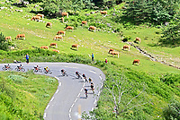 15th July 2021; Luz Ardiden, Hautes-Pyrénées department, France;  Riders take a steep curve during stage 18 of the 108th edition of the 2021 Tour de France cycling race, a stage of 129,7 kms between Pau and Luz Ardiden.