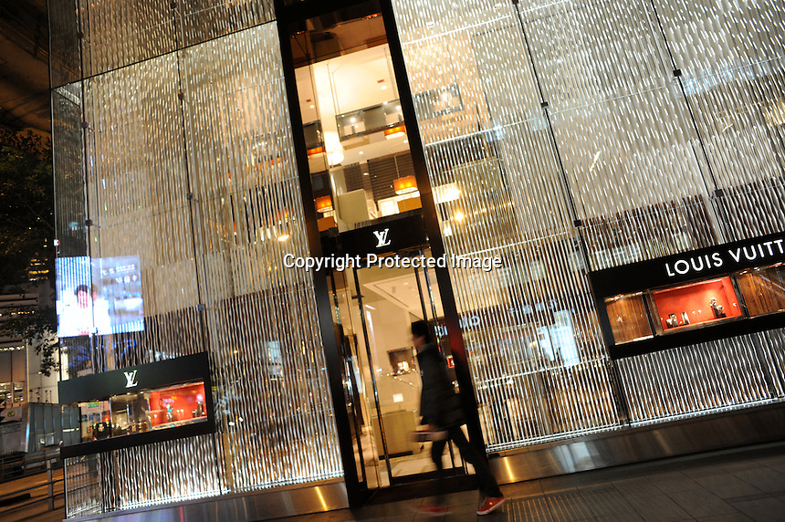Louis Vuitton shop in Central, Hong Kong. Hong Kong is a leading destination for mainland tourists and is leading centre for luxury fashion brands carry the complete range of one of the world's top fashion brands products..