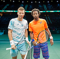 Februari 13, 2015, Netherlands, Rotterdam, Ahoy, ABN AMRO World Tennis Tournament, Gael Monfils (FRA) - Tomas Berdych<br /> Photo: Tennisimages/Henk Koster