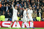 Real Madrid's Carlos Henrique Casemiro (l), James Rodriguez and James Rodriguez celebrate goal during Champions League 2016/2017 Round of 16 1st leg match. February 15,2017. (ALTERPHOTOS/Acero)